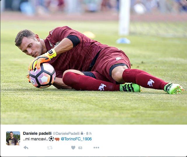 Il messaggio di Daniele Padelli su Twitter